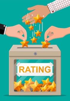 Classificatiedoosje en handje met gouden ster