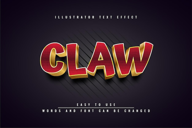 Claw - bewerkbaar 3d gouden teksteffect