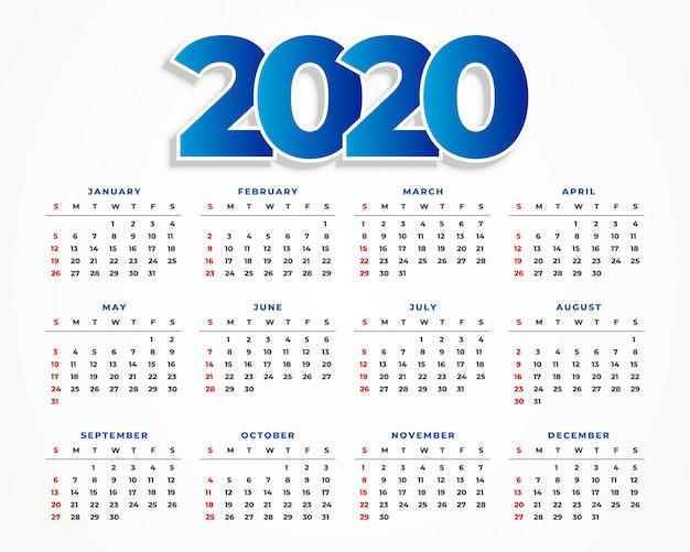 Clean 2020 kalendersjabloonontwerp