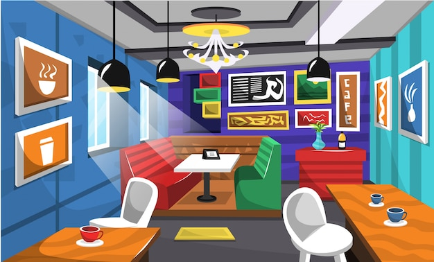 Clean cafe interior ideas with artistic picture