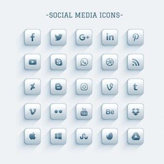 Clean glanzend sociale media pictogrammen