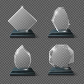 Clear glass award-certificaten, doelen team kristallen trofeeën voorraad. glossy panel award prijs