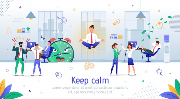 Clear mindset in office work flat vector banner