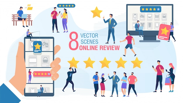 Client online review platte vector concept set