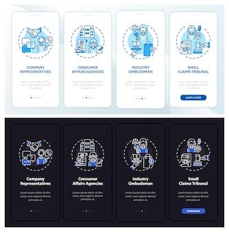 Clientverdediging onboarding mobiele app paginascherm met concepten