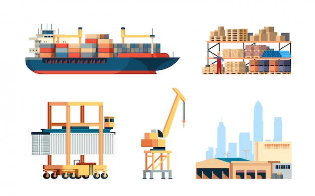 Clip-art set van internationale scheepvaart, heftruck schip kraan, magazijn engineering collectie