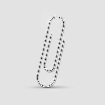Clip realistische paperclip bevestig metalen bindmiddel op kantoor met schaduw