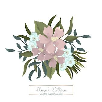Clipart met roze bloemen