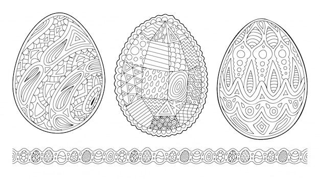 Cliparts voor het kleuren van boekpagina's met eieren