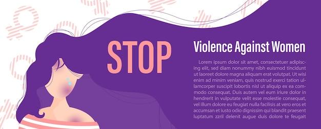 Close-up en bijsnijden vrouw stripfiguur wordt misbruikt met slogan van internationale dag voor uitbanning van geweld tegen vrouwen, voorbeeldteksten op teken van vrouwen en witte achtergrond.