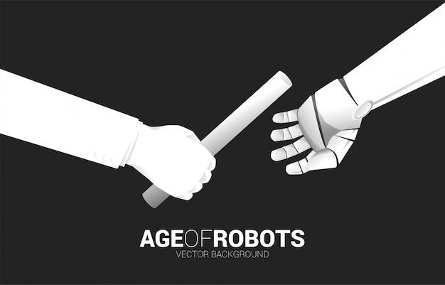 Close-up hand passeren stokje in estafette van mens naar robot.