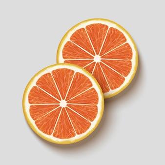 Close-up kijken naar grapefruit sectie, bovenaanzicht vers vlees in 3d illustratie