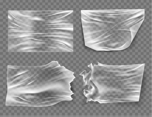 Close-up op een plastic transparante cellofaan zak op witte achtergrond. de textuur ziet er blanco en glanzend uit.
