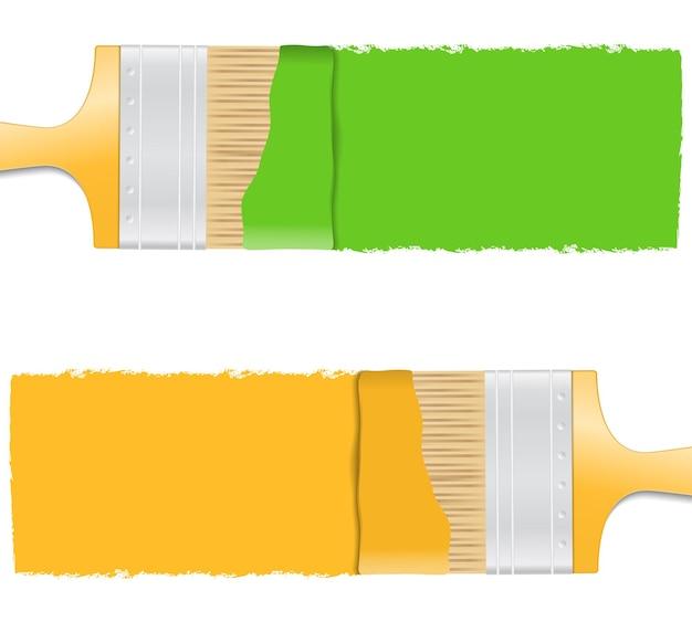 Close-up van borstels met verf, illustratie
