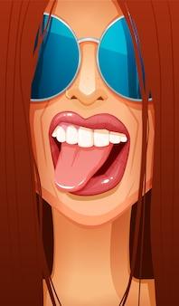 Close-up van het gezicht van de roodharige vrouw in glazen haar tong uitsteekt.