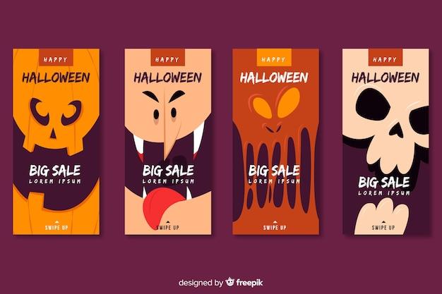 Close-upgezichten van halloween-monsters voor instagram-verhalen