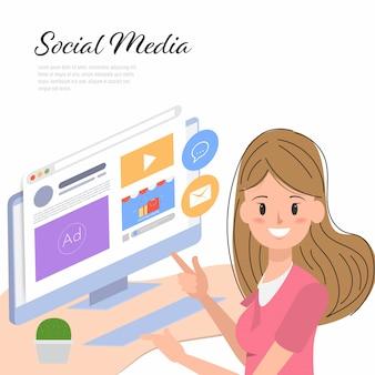 Close-upvrouw die een computer met sociale media gebruiken.