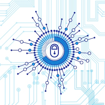 Closed lock access technology-concept van gegevensbescherming en beveiliging