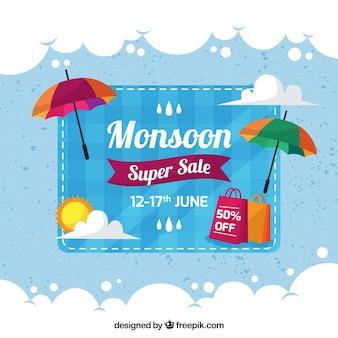 Cloud achtergrond en moesson verkoop paraplu