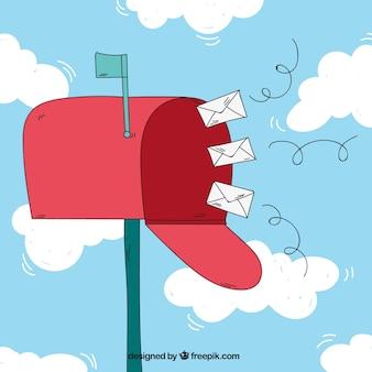 Cloud achtergrond met mailbox en enveloppen
