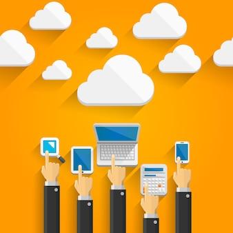 Cloud-apparaten met handen kunst. vector illustratie