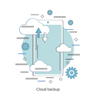 Cloud back-up platte ontwerp stijl vector concept illustratie