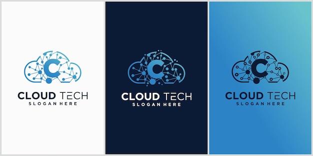Cloud c-logo-ontwerp met technologieconcept
