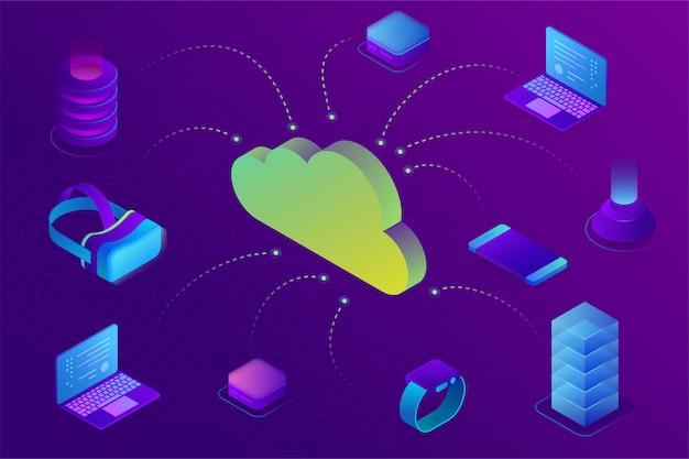 Cloud computing-apparaat technologie concept. cloudgegevensopslag verbonden met apparaten. isometrisch