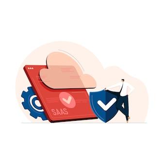 Cloud computing-beveiliging met saas-technologiesoftware als serviceconcept