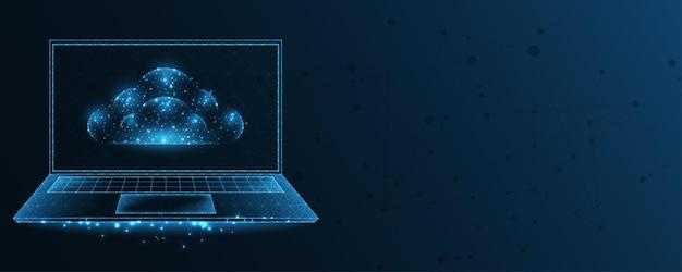 Cloud computing. cloud- en laptoplijnverbinding. laag poly draadframe-ontwerp. abstracte geometrische achtergrond. vectorillustratie.