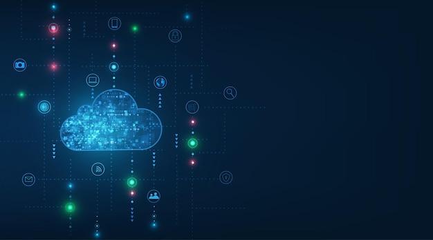 Cloud computing-concept abstracte wolk verbinding technische achtergrond