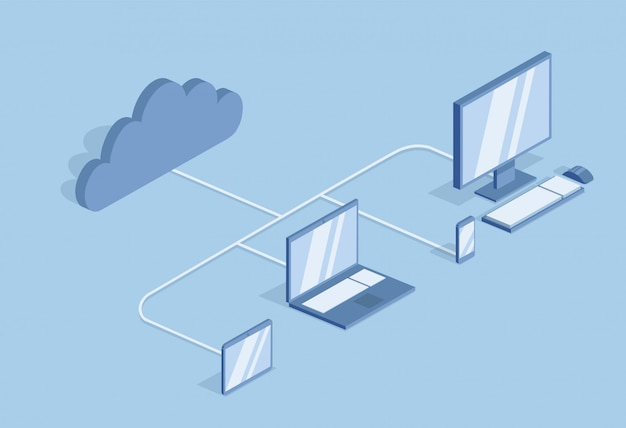 Cloud computing-concept. informatie technologie. desktop-pc's, laptops en mobiele apparaten worden gesynchroniseerd in de cloud. isometrische illustratie, op blauwe achtergrond.