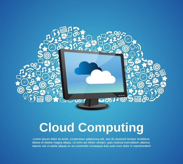 Cloud computing concept met monitor en bedrijfs iconen set vector illustratie