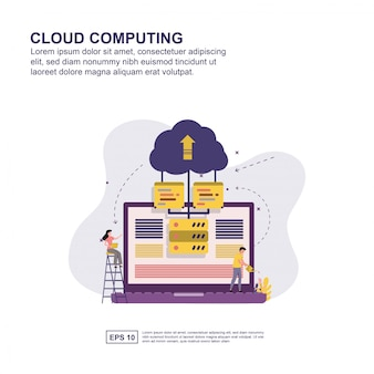 Cloud computing concept vector illustratie plat ontwerp.