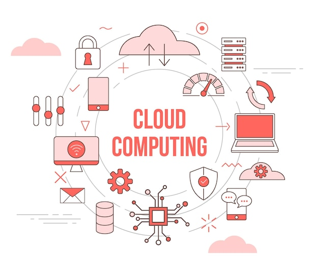Cloud computing concept wolk smartphone laptop computer gegevens netwerk verbinding bescherming met pictogrammenset sjabloon stijl en cirkel rond
