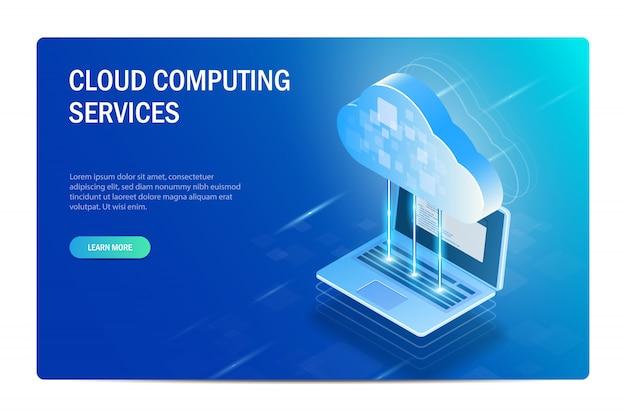 Cloud computing-diensten. het proces van het synchroniseren van bestanden met een laptop