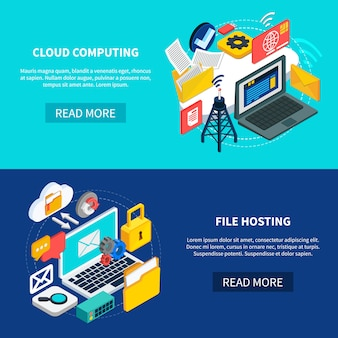 Cloud computing en bestandshostingbanners Gratis Vector