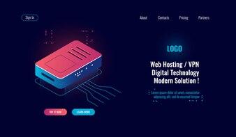 Cloud computing en grote digitale gegevensverwerking isometrische pictogram, router internet splitter, online web