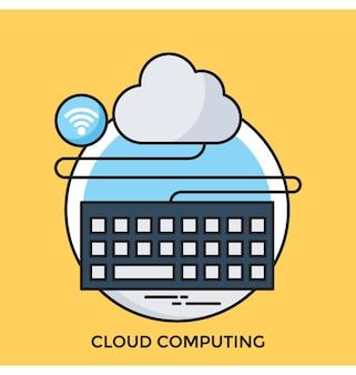 Cloud computing flat vector pictogram