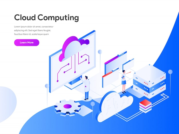 Cloud computing isometrisch voor website pagina