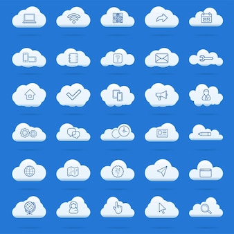 Cloud computing lineaire pictogrammen instellen. symbolen voor downloaden, uploaden, instellingen en voorkeuren. pictogrammen vergrendelen, ontgrendelen en mappen. pictogrammen voor online gegevensopslag. vector geïsoleerde overzichtstekeningen