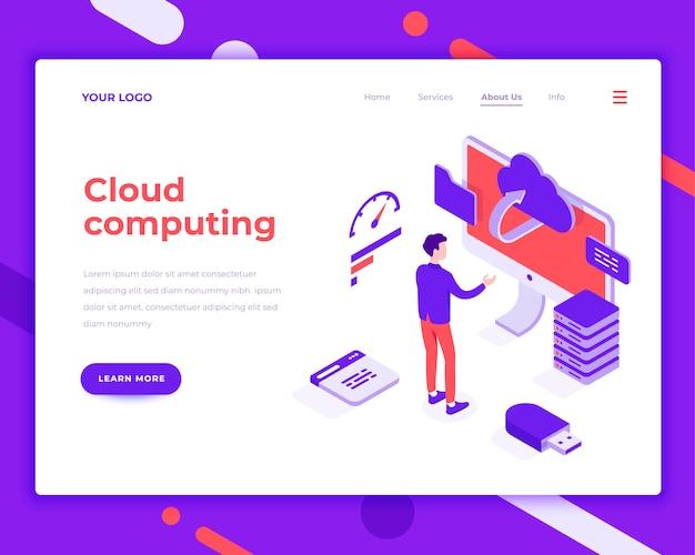 Cloud computing-mensen en interactie met scherm