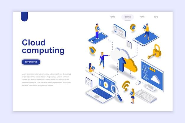 Cloud computing moderne platte ontwerp isometrische concept.