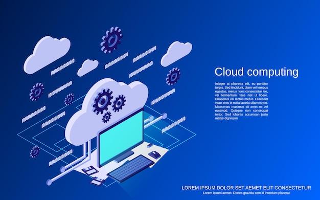 Cloud computing, netwerk, gegevensverwerking platte isometrische vectorconceptenillustratie