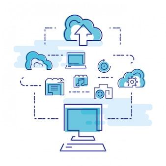 Cloud computing-netwerk met desktop