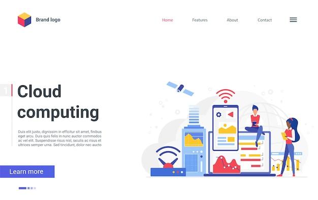 Cloud computing-netwerkconcept bestemmingspagina