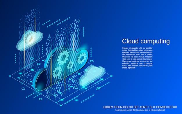 Cloud computing platte isometrische vector concept illustratie