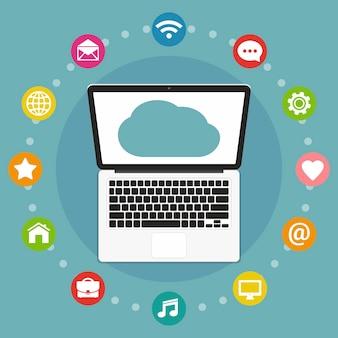 Cloud computing platte ontwerp illustratie