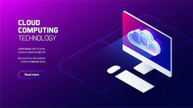 Cloud computing-service, cloud-opslagdienst futuristisch concept,