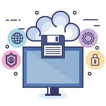 Cloud computing-set plat pictogrammen